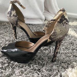 BCBG Snakeskin & patent leather w anklestrap heels